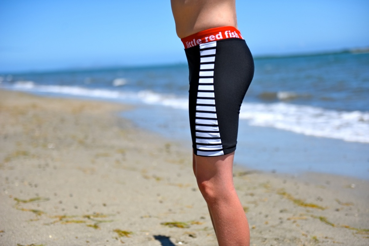 Racer swimshort with striped panel